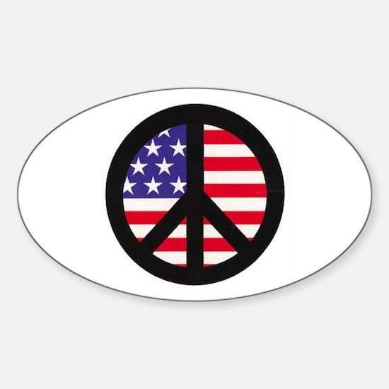 Peace Sign - Flag Oval Decal