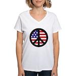 Peace Sign - Flag Women's V-Neck T-Shirt