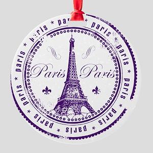 Paris France Stamp Round Ornament