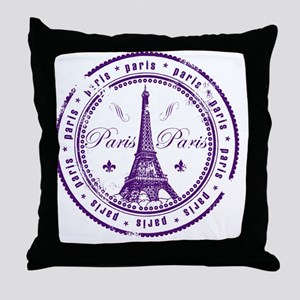 Paris France Stamp Throw Pillow
