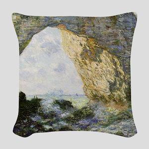 Etretat by Monet Woven Throw Pillow
