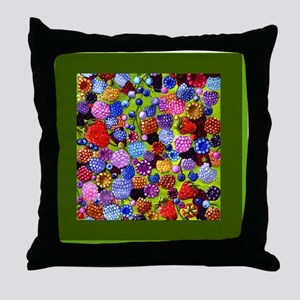 berries square green border Throw Pillow