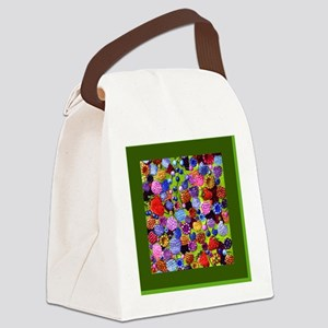 berries square green border Canvas Lunch Bag