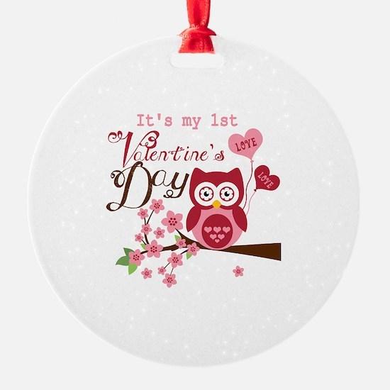 1st Valentine's Day Owl Ornament