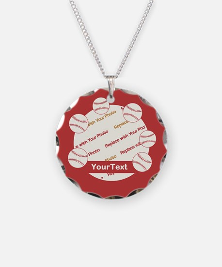 CUSTOMIZE Photo And Text Baseball Necklace