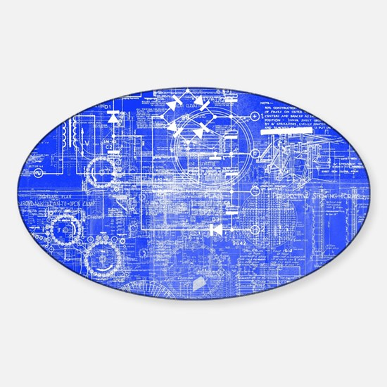 Blueprints Architecture Sticker (Oval)