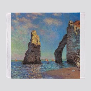 Etretat Cliffs by Monet Throw Blanket