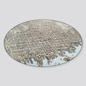 Vintage Pictorial Map of New Bedford MA (1 Sticker