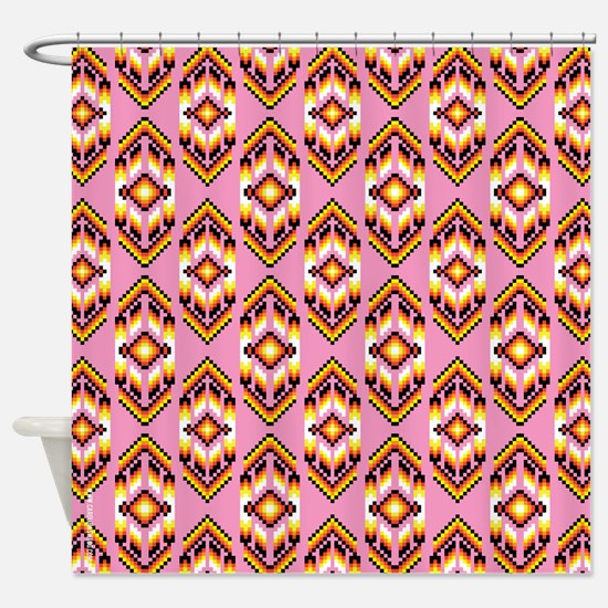 Native American Design Pink Shower Curtain