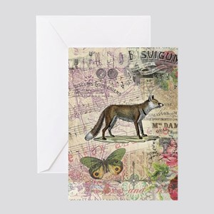 Fox Vintage Animal Collage Greeting Cards