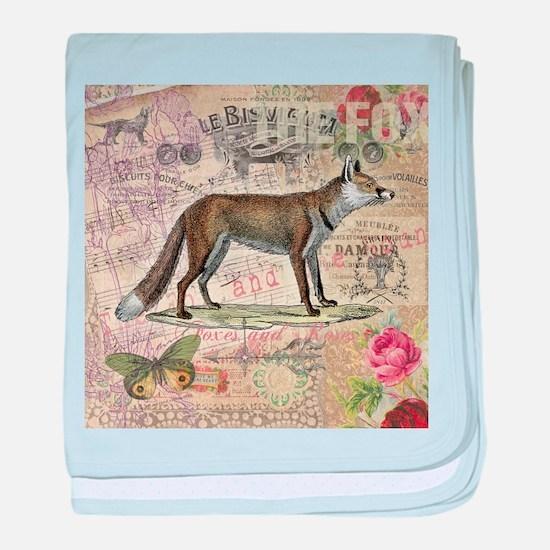 Fox Vintage Animal Collage baby blanket