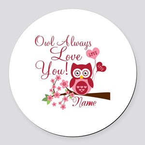 Owl Always Love You Round Car Magnet
