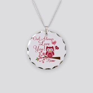 Owl Always Love You Necklace Circle Charm