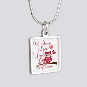 Owl Always Love You Silver Square Necklace