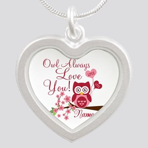 Owl Always Love You Silver Heart Necklace