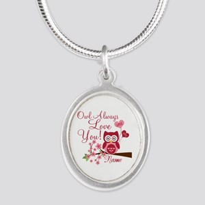 Owl Always Love You Silver Oval Necklace