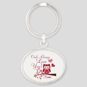 Owl Always Love You Oval Keychain