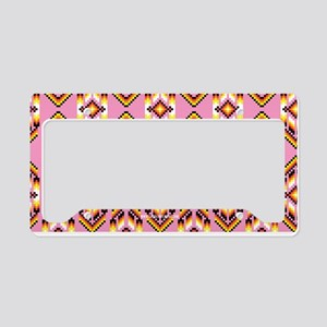 Native American Design Pink License Plate Holder
