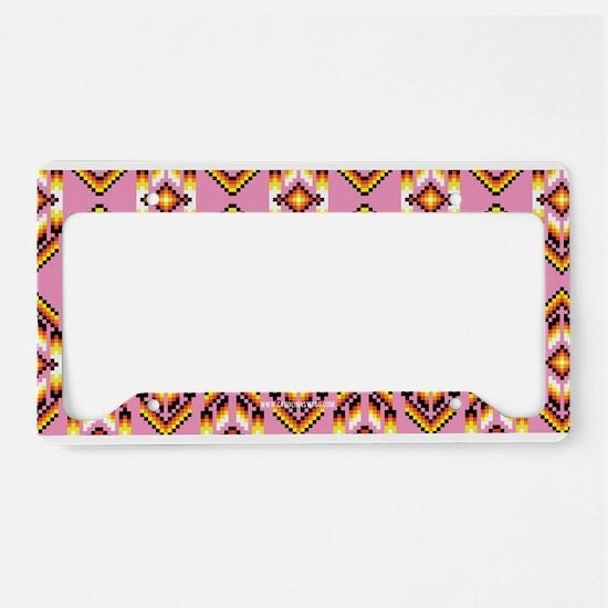 Native American Design Pink License Plate Holder