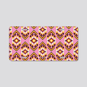 Native American Design Pink Aluminum License Plate