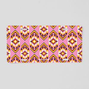 Native American Design Pink Aluminum License Plate
