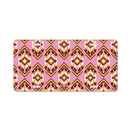 Native American Design Pink Aluminum License Plate By
