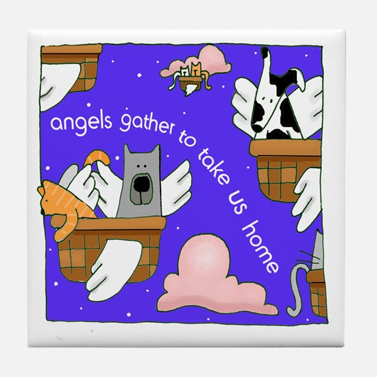 Angels Gather for Dogs, Cats Tile Coaster