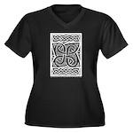 Celtic Cloverleaf Women's Plus Size V-Neck Dark T-