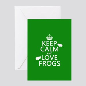 Keep Calm and Love Frogs Greeting Cards