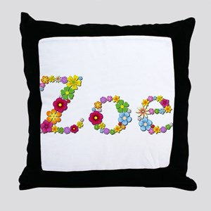 Zoe Bright Flowers Throw Pillow