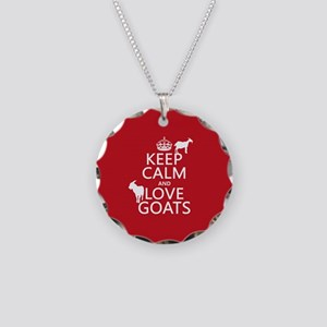 Keep Calm and Love Goats Necklace Circle Charm