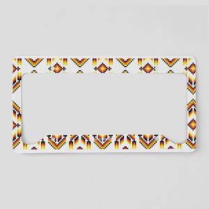 Native American Design White License Plate Holder