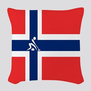 Team Curling Norway Woven Throw Pillow