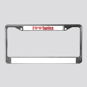 I Heart Heart Twins License Plate Frame