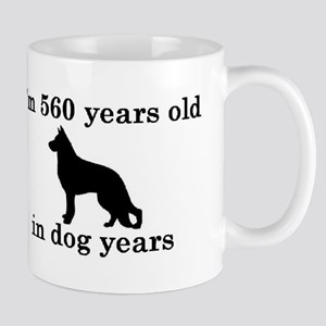 80 birthday dog years german shepherd black 2 Mugs