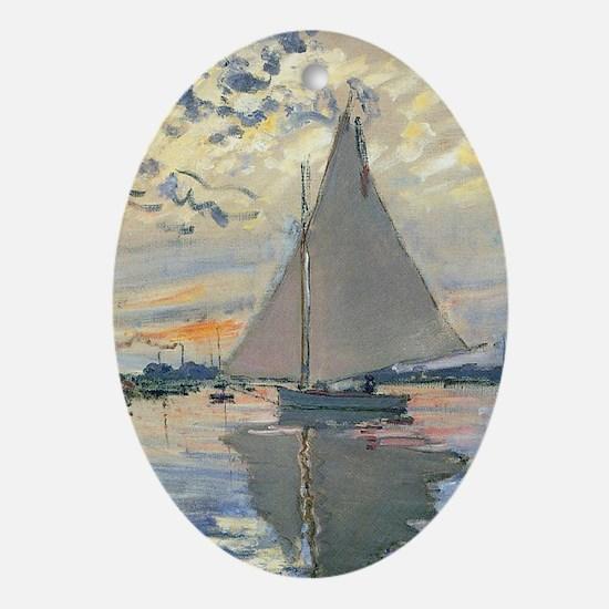 Monet Sailboat French Impressionist Ornament (Oval