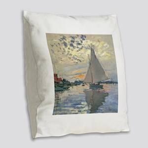 Monet Sailboat French Impressionist Burlap Throw P
