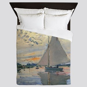 Monet Sailboat French Impressionist Queen Duvet
