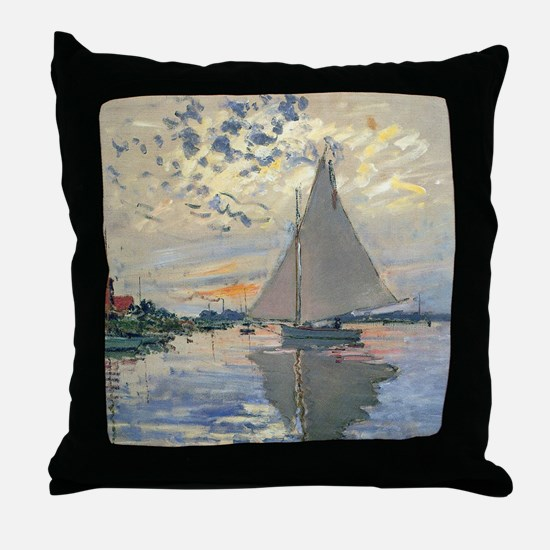 Monet Sailboat French Impressionist Throw Pillow
