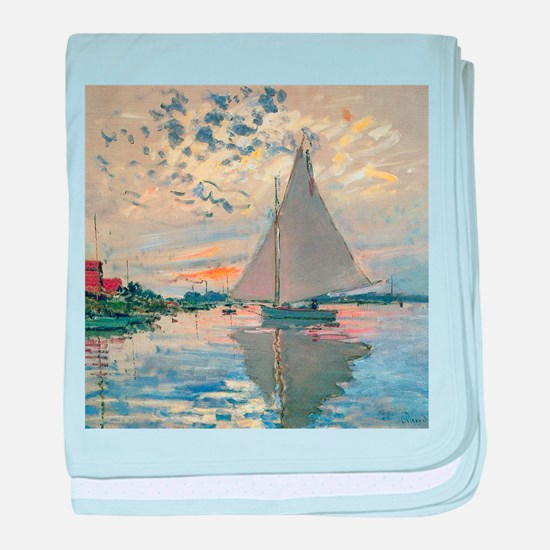 Monet Sailboat French Impressionist baby blanket