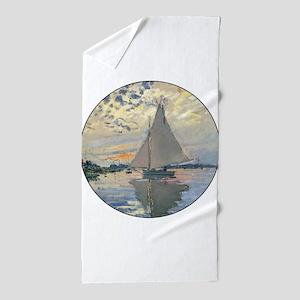 Monet Sailboat French Impressionist Beach Towel