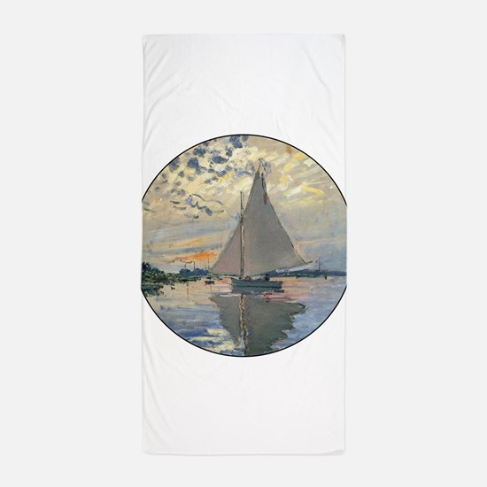 Monet Sailboat French Impressionist Beach Towel