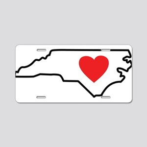 North Carolina LOVE State Outline Aluminum License