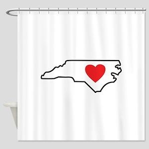 North Carolina LOVE State Outline Shower Curtain