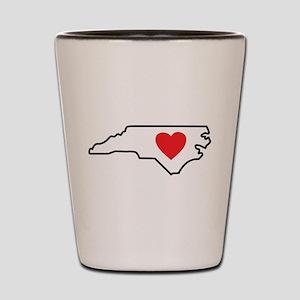 North Carolina LOVE State Outline Shot Glass