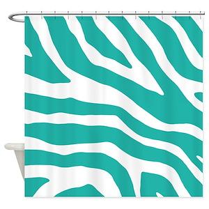 Teal Zebra Shower Curtains
