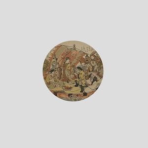 Seven Gods Of Good Fortune In The Trea Mini Button