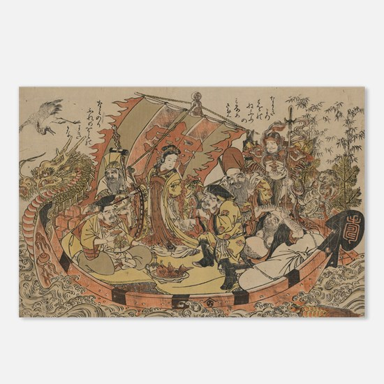 Seven Gods Of Good Fortun Postcards (Package of 8)