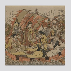 Seven Gods Of Good Fortune In The Tre Tile Coaster