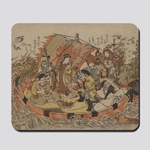 Seven Gods Of Good Fortune In The Treasu Mousepad